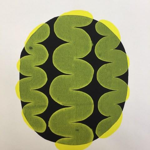 Schablonen Siebdruck auf Baumwolle. Vergrösserte Ansicht