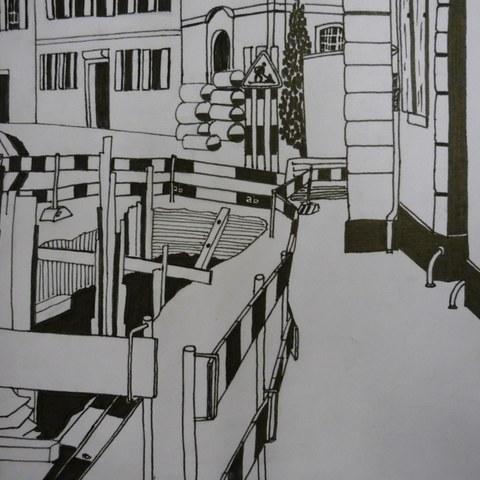 In Situ   Zeichnen im öffentlichen Raum. Vergrösserte Ansicht