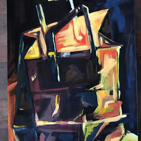 Malerische Untersuchung von Papiertaschen. Vergrösserte Ansicht