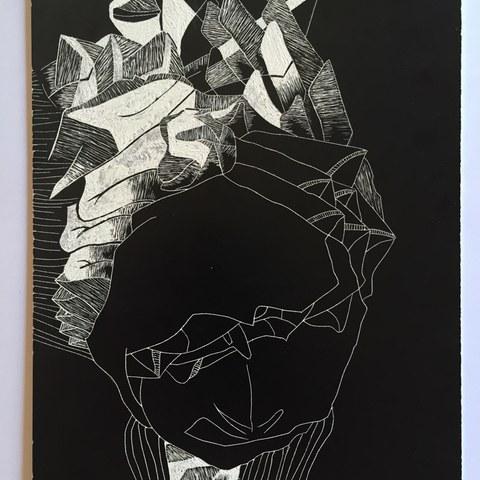 Schabkarton   Abstraktionsarbeit. Vergrösserte Ansicht